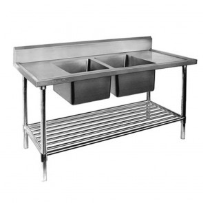 FED Double Centre Sink Bench with Pot Undershelf DSB7-1200C/A-1