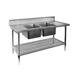 FED Double Centre Sink Bench with Pot Undershelf DSB7-1500C/A-1