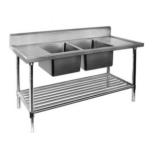 FED Double Centre Sink Bench with Pot Undershelf DSB7-2400C/A-1