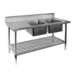 FED Double Right Sink Bench with Pot Undershelf DSB7-2400R/A-1