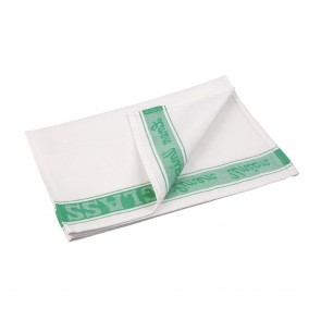 E912 Glass Cloth Linen Union Green Border - 76x51cm