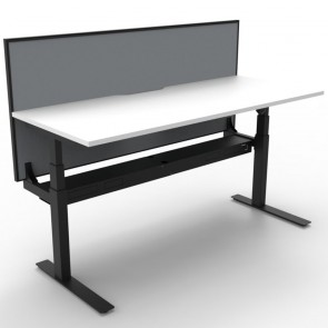 Electric Height Adjustable Standing Desk with Screen White Black