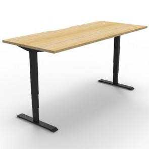 Electric Height Adjustable Standing Desk Oak Black