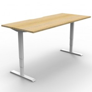Electric Height Adjustable Standing Desk Oak White