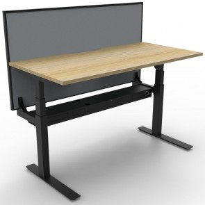 Electric Height Adjustable Standing Desk with Screen Oak Black
