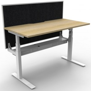 Electric Height Adjustable Standing Desk with Screen Oak White