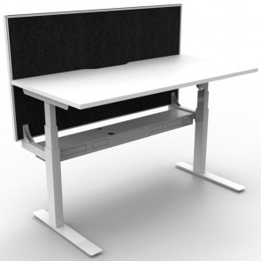 Electric Height Adjustable Standing Desk with Screen White White