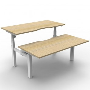 Electric Height Adjustable Workstation 2 Person Back to Back Oak White
