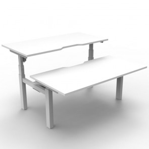 Electric Height Adjustable Workstation 2 Person Back to Back White White