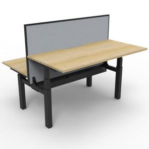 Electric Height Adjustable Workstation 2 Person with Screen Oak Black