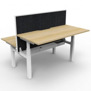 Electric Height Adjustable Workstation 2 Person with Screen Oak White