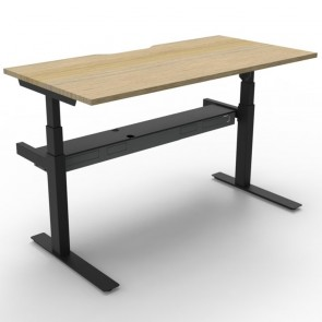 Electric Height Adjustable Workstation Desk Oak Black