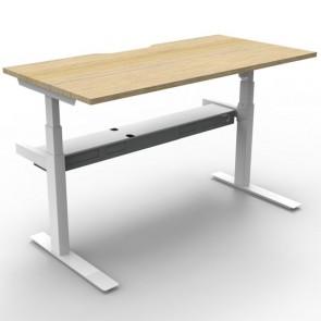 Electric Height Adjustable Workstation Desk Oak White