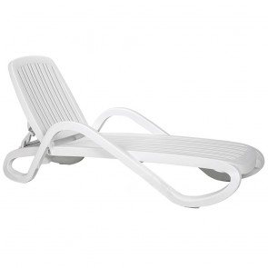 Enrica White Pool Recliner Stackable Sun Lounger
