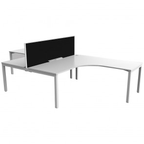 Enterprise 2 Person T Layout Office Workstation White Frame with Privacy Screen