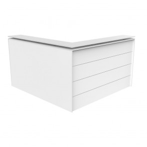 Enterprise Office Reception White Corner Counter with Poptop Facade