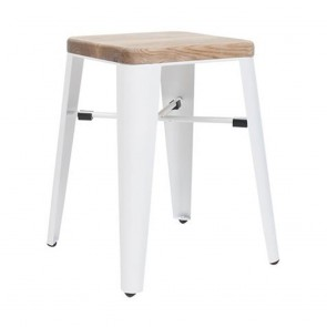 Esja Wooden Stool Matt White Metal Legs 45cm