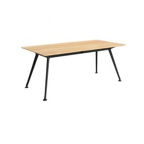Infinity Rectangular Meeting Table Solid Beech Wood Black Legs