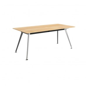 Infinity Rectangular Meeting Table Solid Beech Wood Silver Legs