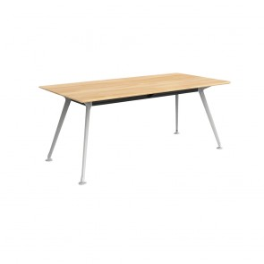 Infinity Rectangular Meeting Table Solid Beech Wood White Legs