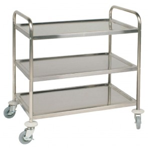 F994 Vogue 3 Tier Flat Pack Trolley Stainless Steel - 810Lx455Wx855mmH