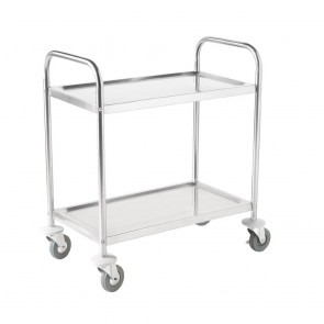 F997 Vogue 2 Tier Flat Pack Trolley Stainless Steel - 810Lx455Wx855mmH