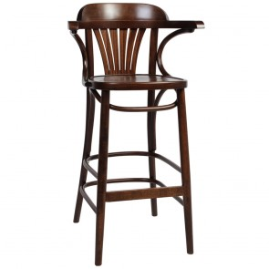 Fan Back Bentwood Bar Stool with Arms BST-165