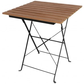 Faux Wood Square Outdoor Folding Cafe Table
