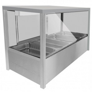 F.E.D BM11SD Heated Wet Six × ½ Pan Bain Marie Angled Countertop Display