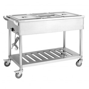 F.E.D BMT3H Three Pan Heated Food Service Cart