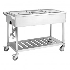 F.E.D BMT4H Four Pan Heated Food Service Cart