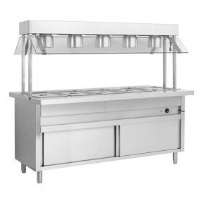 F.E.D BSL5H Heated Five Pan Servery Bain Marie with Top Lamp Warmers and Storage Cabinet-1