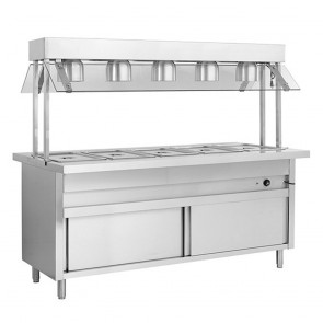 F.E.D BSL6H Heated Six Pan Bain Marie with Top Lamp Warmers-1