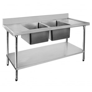 FED Economic 304 Grade SS Centre Double Sink Bench 1800x600x900 with two 610x400x250 sinks 1800-6-DSBC