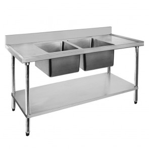 FED Economic 304 Grade SS Centre Double Sink Bench 1800x700x900 with two 610x400x250 sinks 1800-7-DSBC