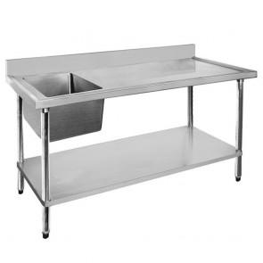 FED Economic 304 Grade SS Left Single Sink Bench 1200x600x900 with 400x400x250 sink 1200-6-SSBL