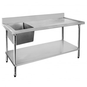 FED Economic 304 Grade SS Left Single Sink Bench 1500x600x900 with 500x400x250 sink 1500-6-SSBL