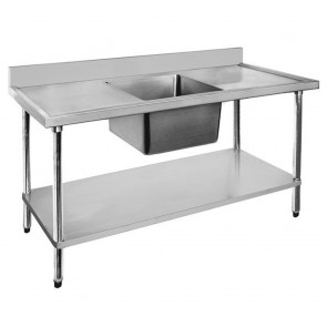 FED Economic 304 Grade SS Right Single Sink Bench 1500x600x900 with 500x400x250 sink 1500-6-SSBR