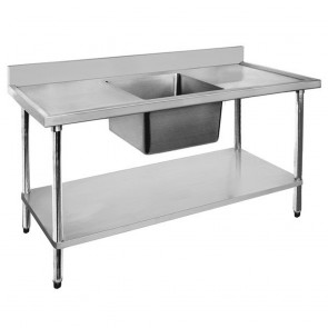 FED Economic 304 Grade SS Single Sink Benches 1800x700x900 with 610x400x250 sink 1800-7-SSBC