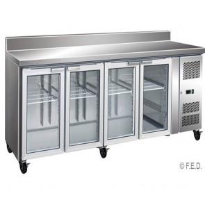 F.E.D GN4200TNG 4 Glass Door Gastronorm Bench Fridge with Splashback