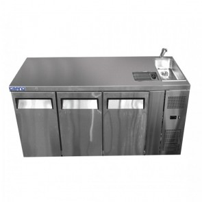 F.E.D GRAND True Quality Three Door Work Bench Fridge with Sink GTR3100BS