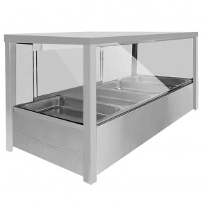 FED Heated Wet Eight x ½ Pan Bain Marie Square Countertop Display