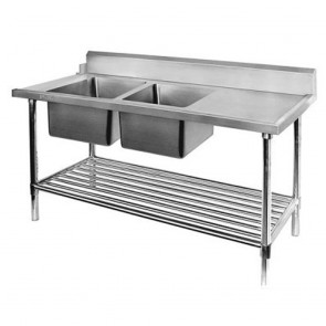 FED Left Inlet Double Sink Dishwasher Bench DSBD7-2400L/A