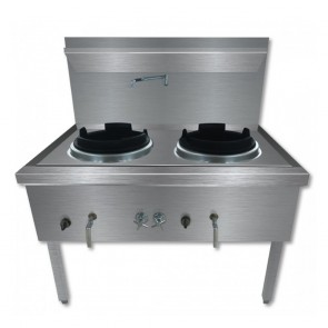 F.E.D Stainless Steel Waterless LPG Gas Double Wok - WW-2L