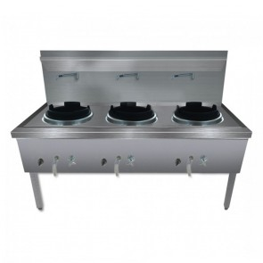 F.E.D Stainless Steel Waterless LPG Gas Triple Wok - WW-3L