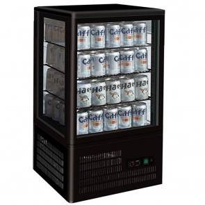 F.E.D TCBD78B Four-sided Countertop Display Fridge BLACK