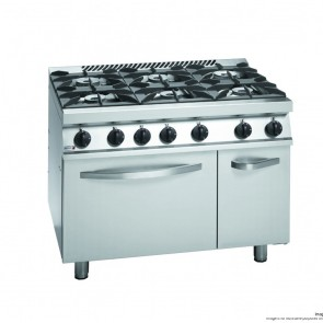 FED Fagor 700 series natural Gas 6 Burner With Gas Oven and neutral Cabinet under CG7-61H