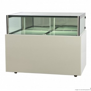 FED White marble chocolate display With storage 1500x800x1100mm - DS1500V