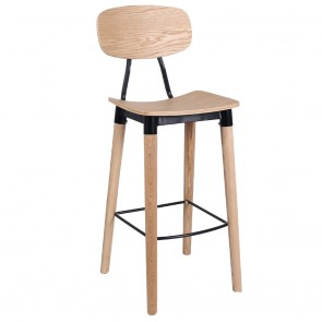 Annabella Industrial Bar Stool Walnut Wood and Metal Black