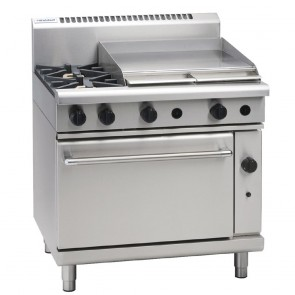 GE870-N Waldorf 900mm Gas Static Range with 2x Burners & 600mm Griddle - Natural Gas
